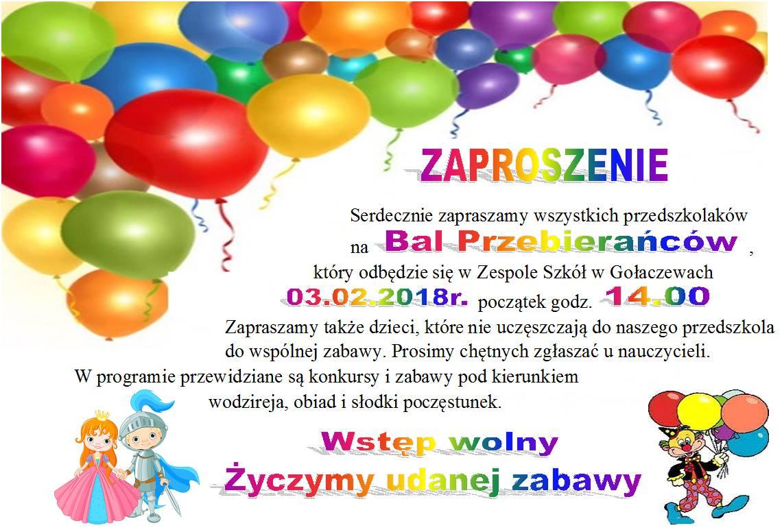 Bal Przebierańców Zaproszenie Zespół Szkół W Gołaczewach